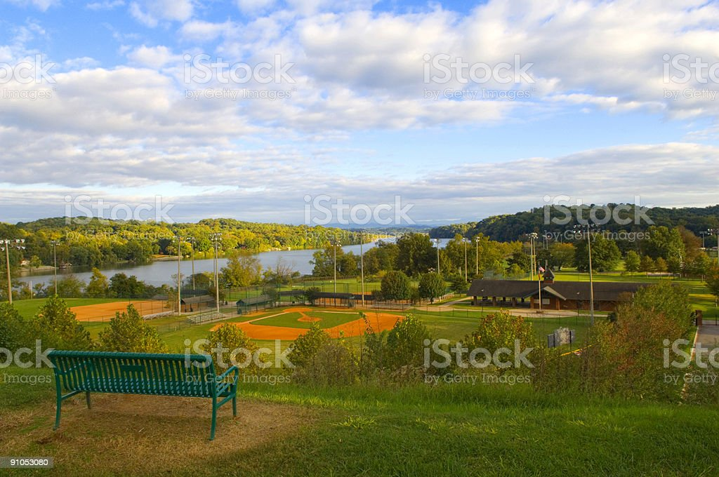Baseball Field at Baseball Game at Park royalty-free stock photo