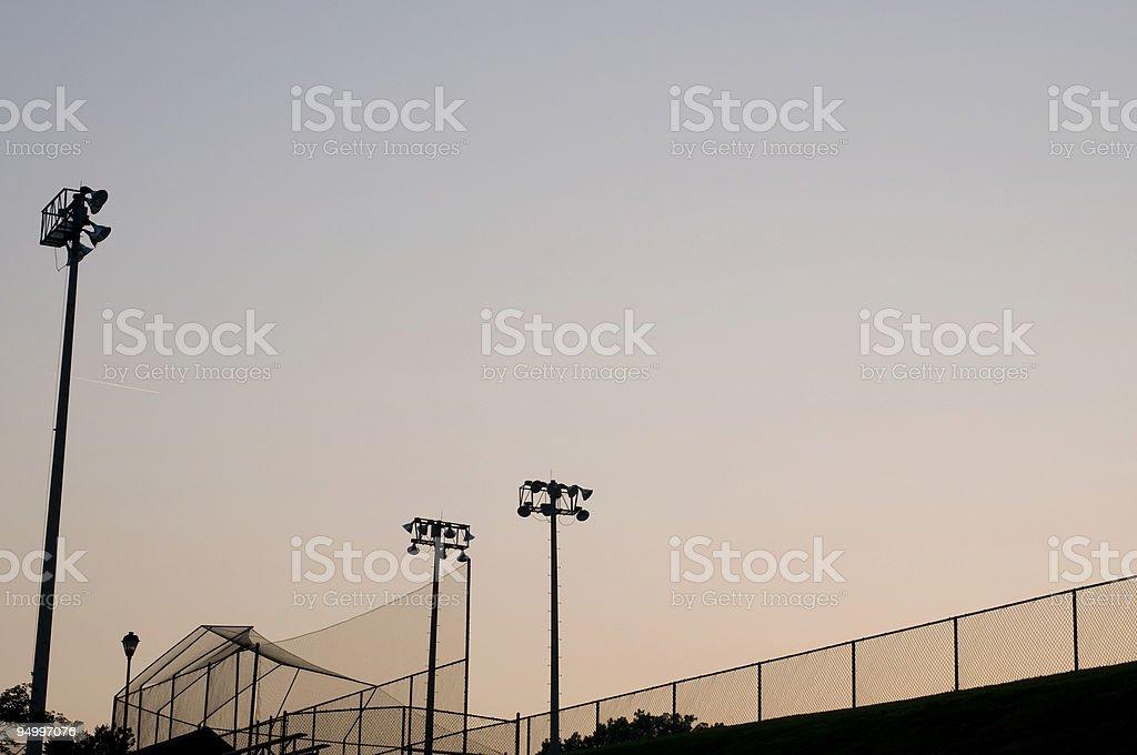 Baseball Field at Baseball Game at Park royalty-free stock photo