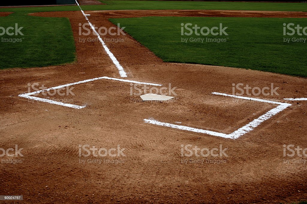 Baseball Field Diamond and Home Plate stock photo