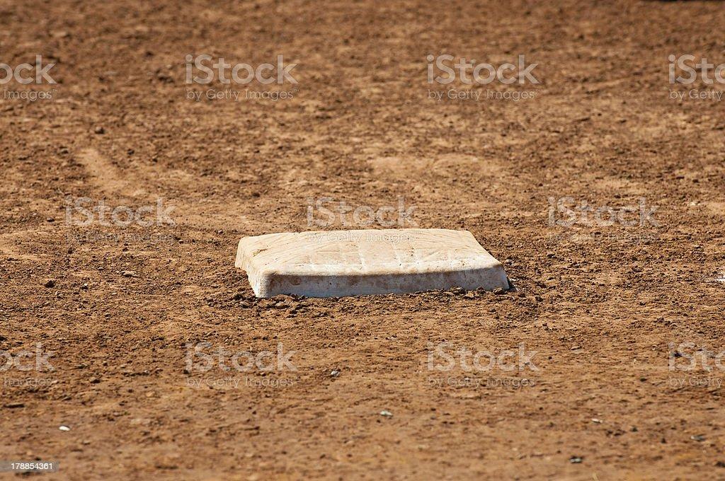 Baseball field first base stock photo