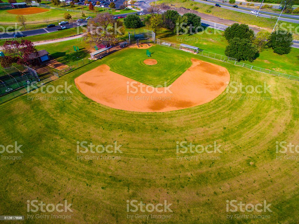 Baseball Field Over Head Aerial Shot Colorful stock photo