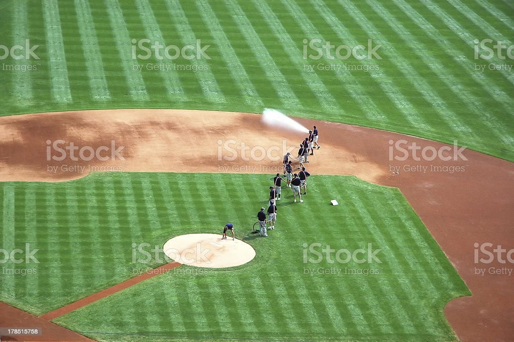 Baseball field preparation stock photo