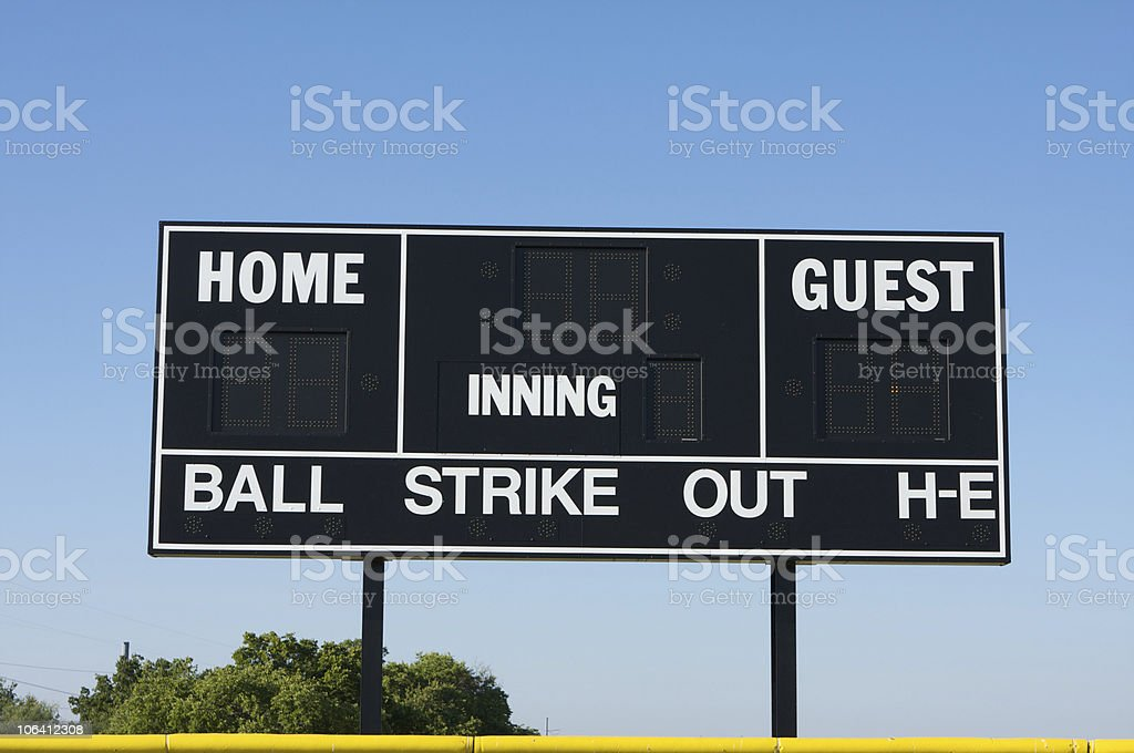 Baseball Field Scoreboard stock photo