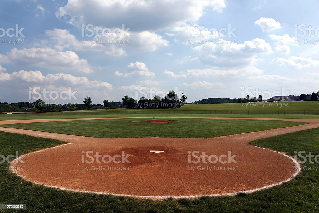 A baseball field shot on field from home plate stock photo