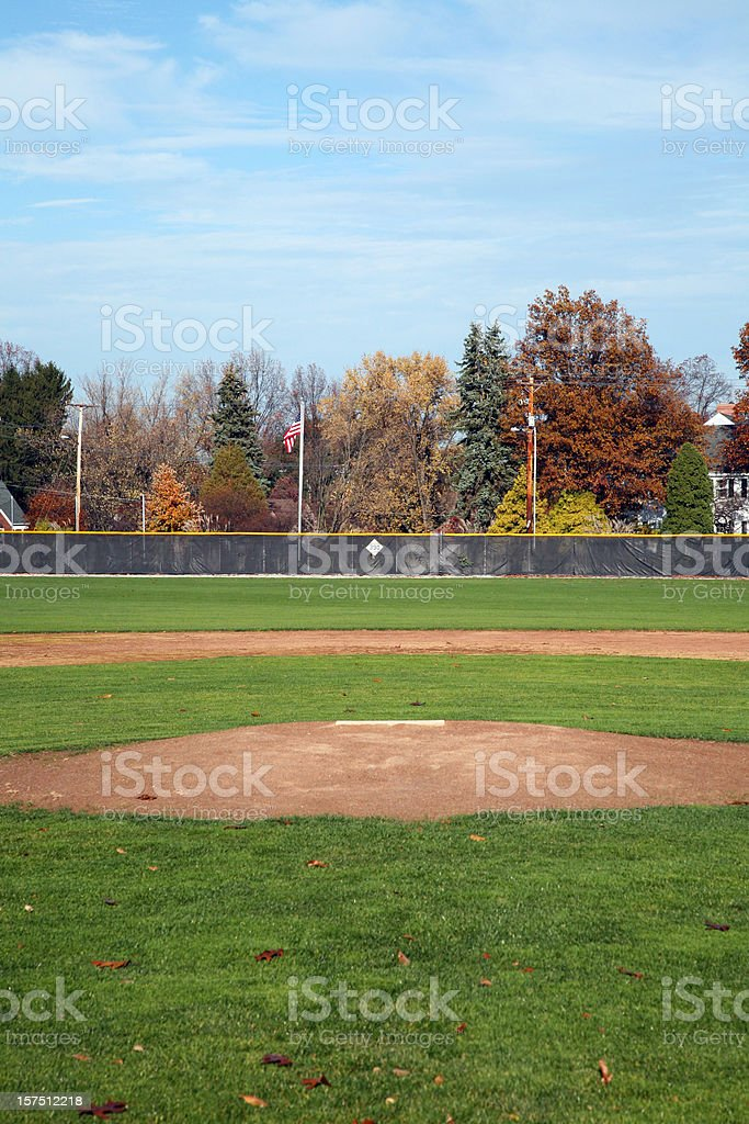 Baseball Field View From In Front Of Home Plate stock photo