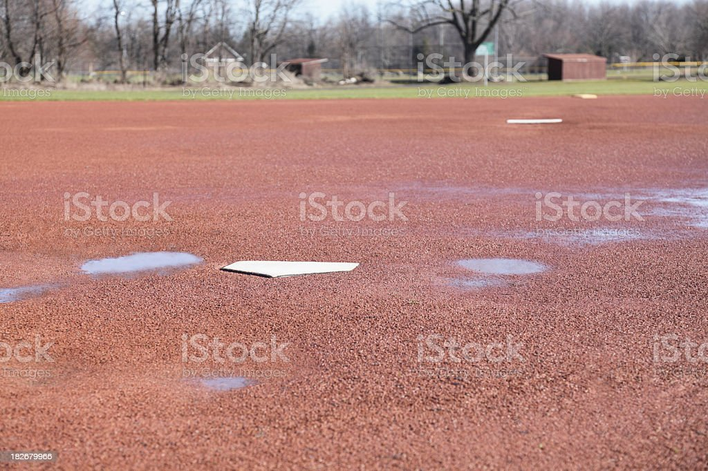 Baseball Field Water Puddles in Early Spring royalty-free stock photo