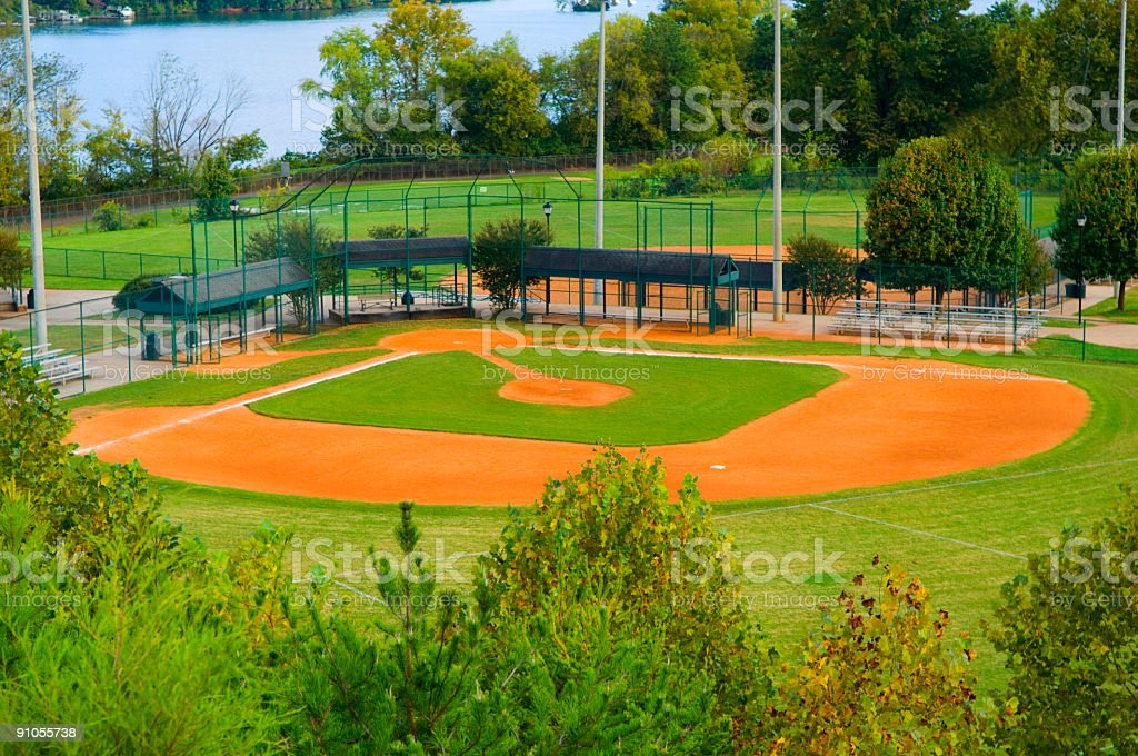 Baseball Field with Infield and Outfield at a Park stock photo
