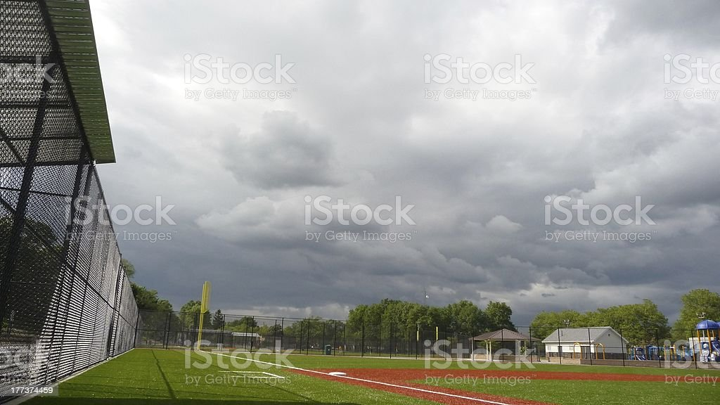 baseball field with sky stock photo
