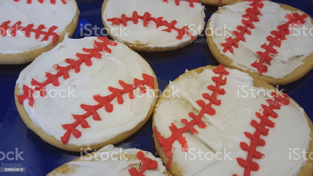 Baseball Frosted Sugar Cookies stock photo