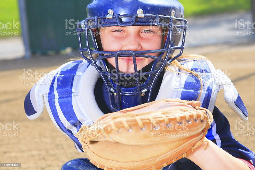 Baseball - Girl Catcher royalty-free stock photo