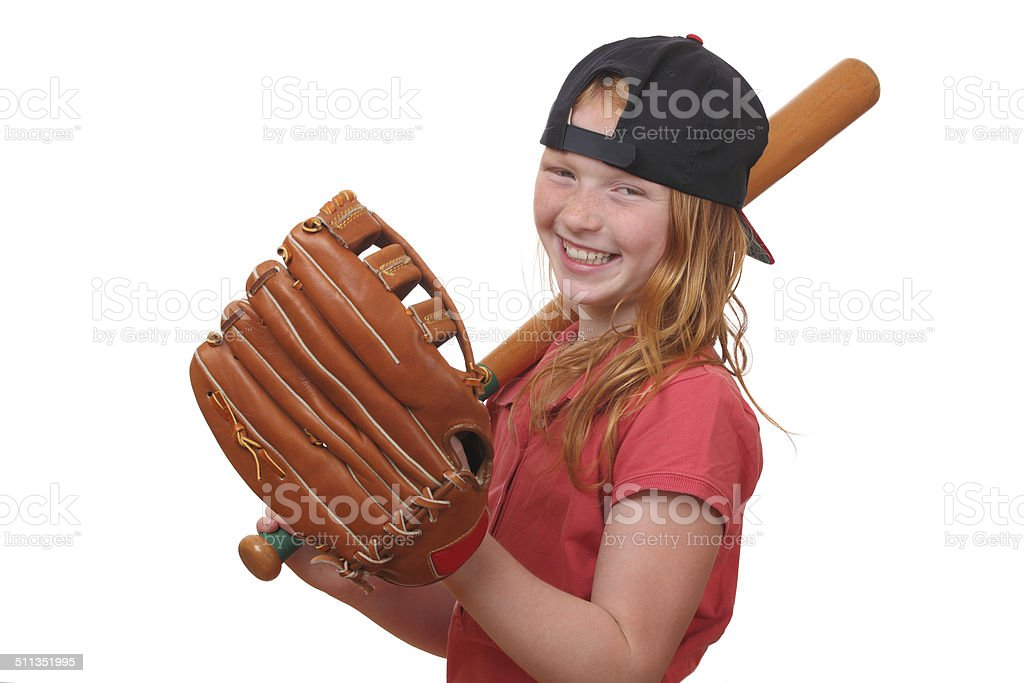 Baseball girl stock photo