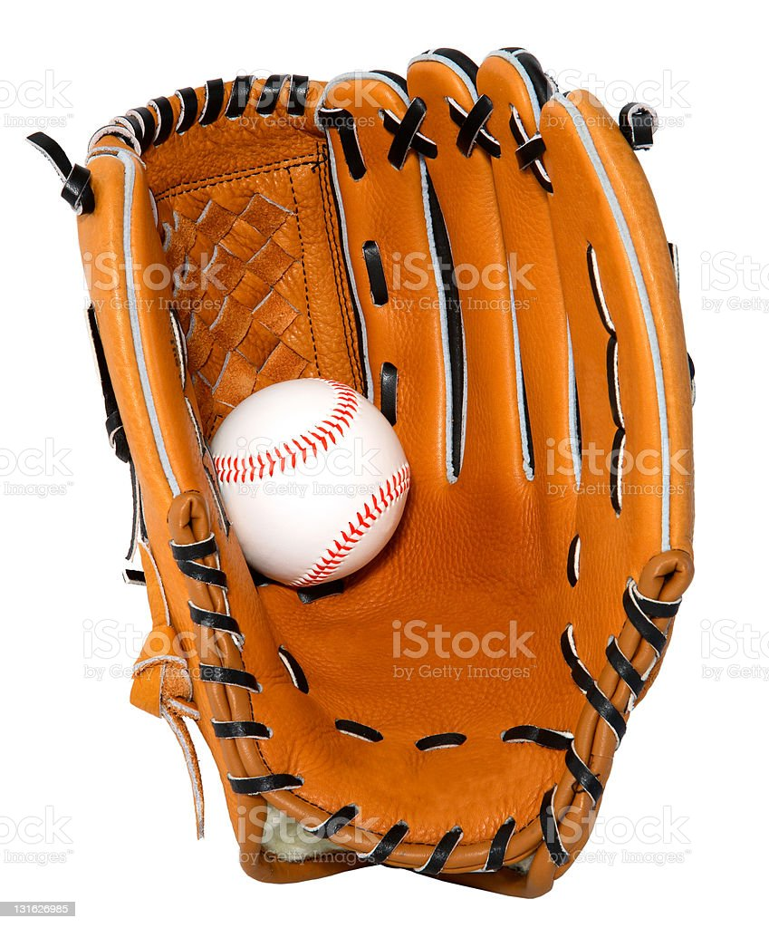 This is a close-up isolation of a baseball glove and ball.