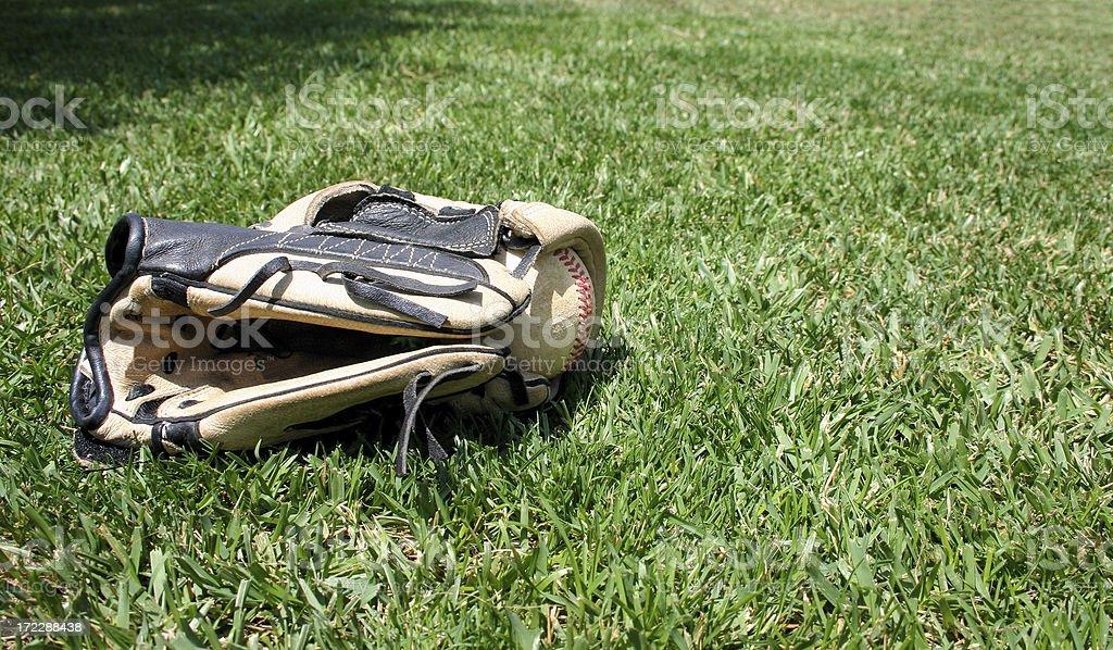Baseball glove and ball royalty-free stock photo
