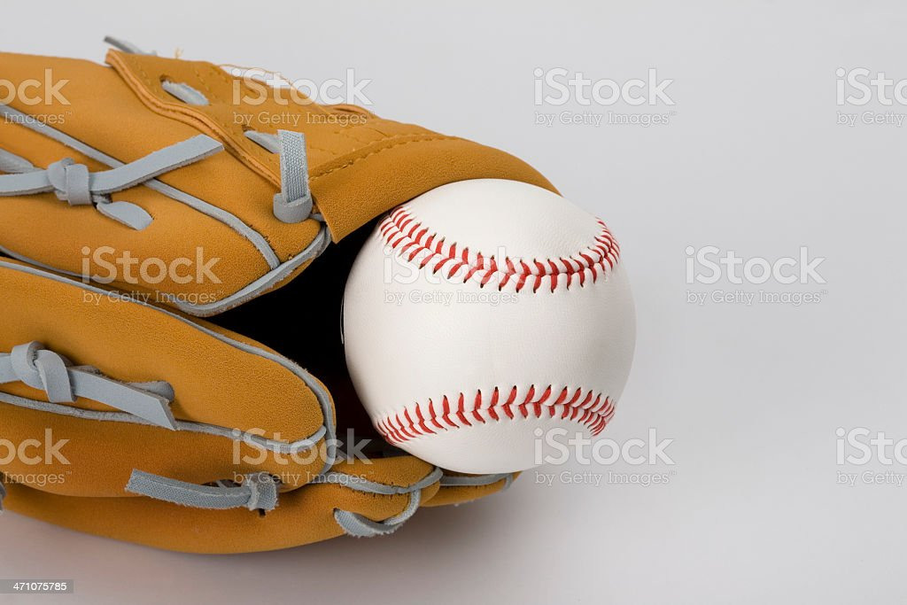 Baseball glove and ball with copy space stock photo