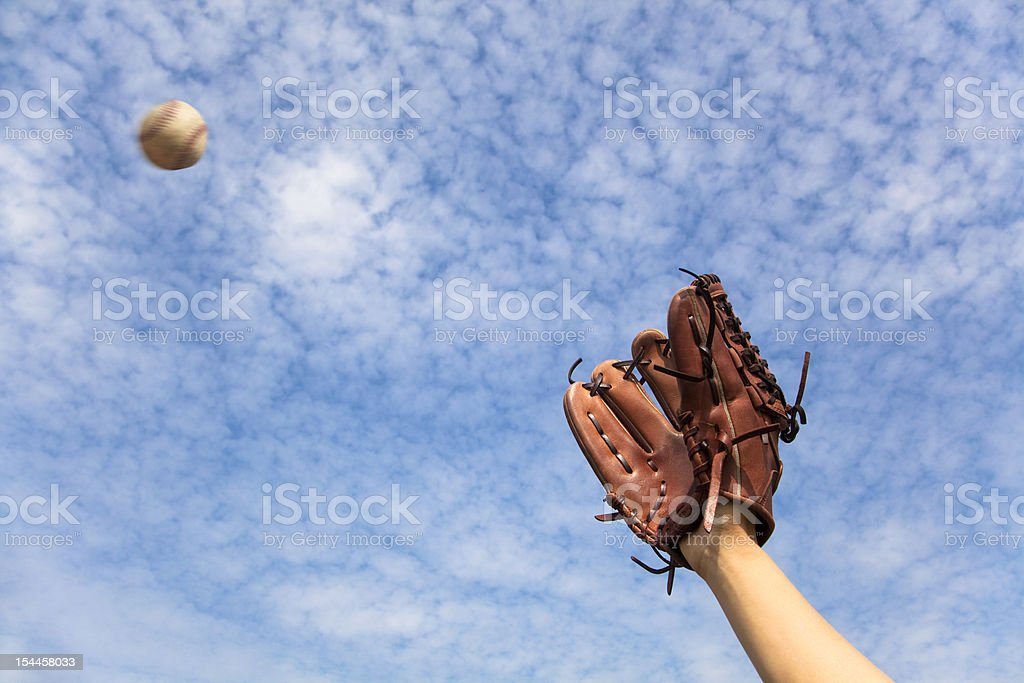 baseball glove and ready to  catching stock photo
