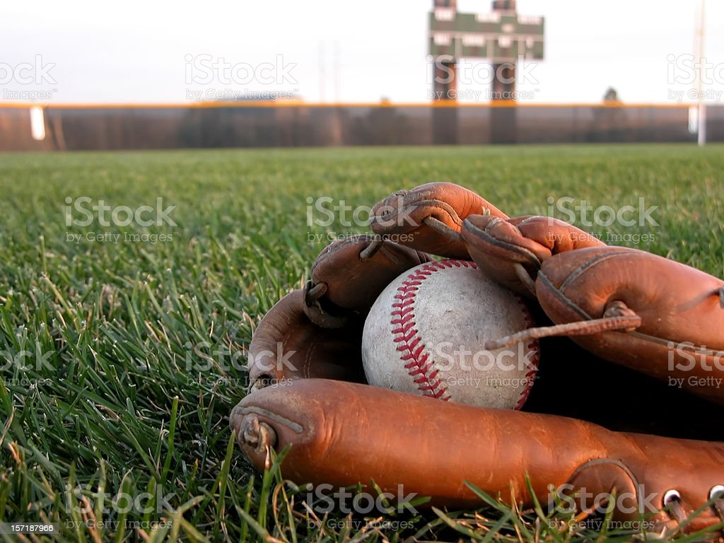 Baseball Glove in the Grass stock photo