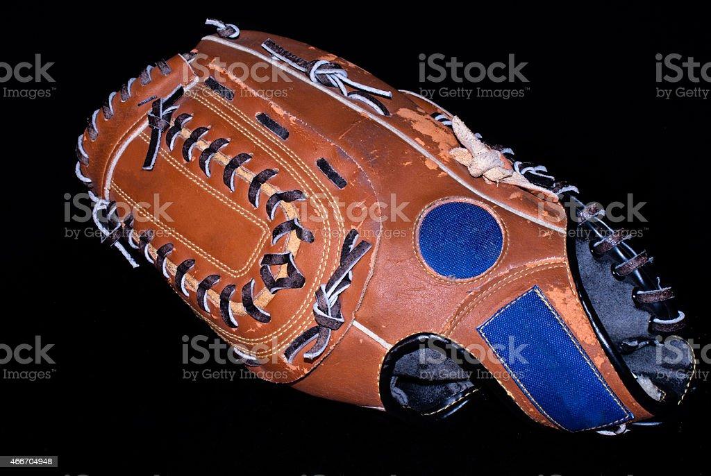 baseball glove on black stock photo
