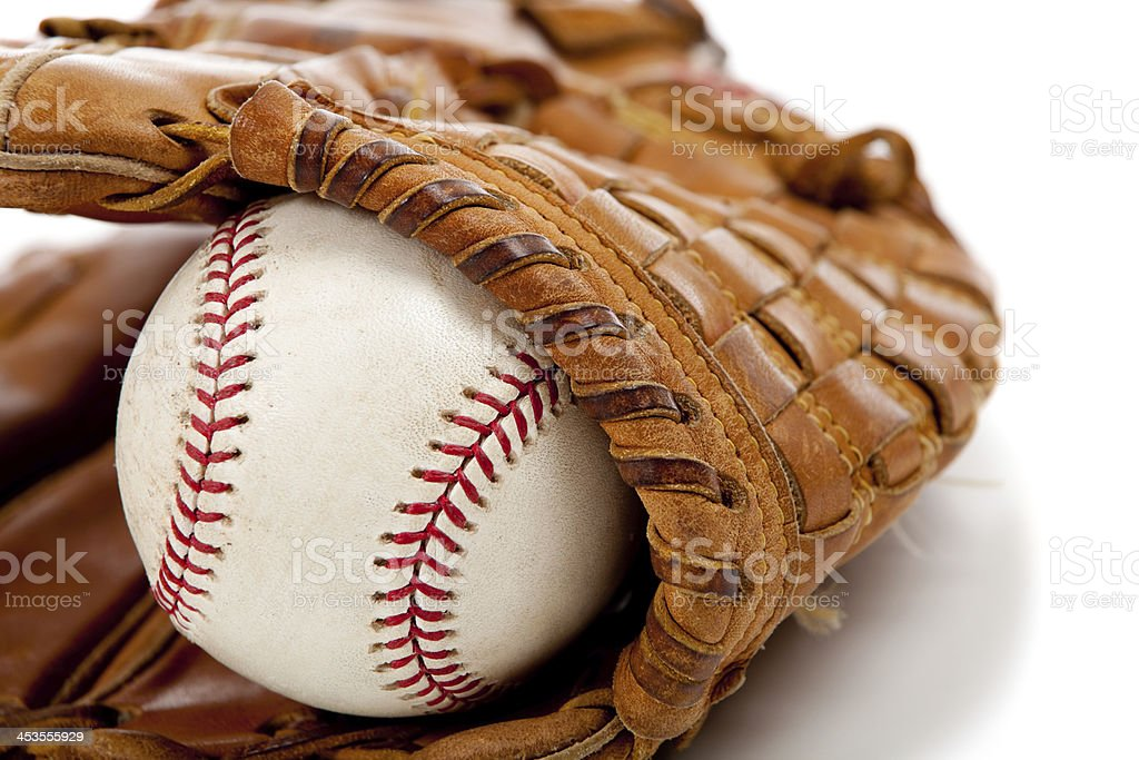 Baseball glove or mitt and ball royalty-free stock photo