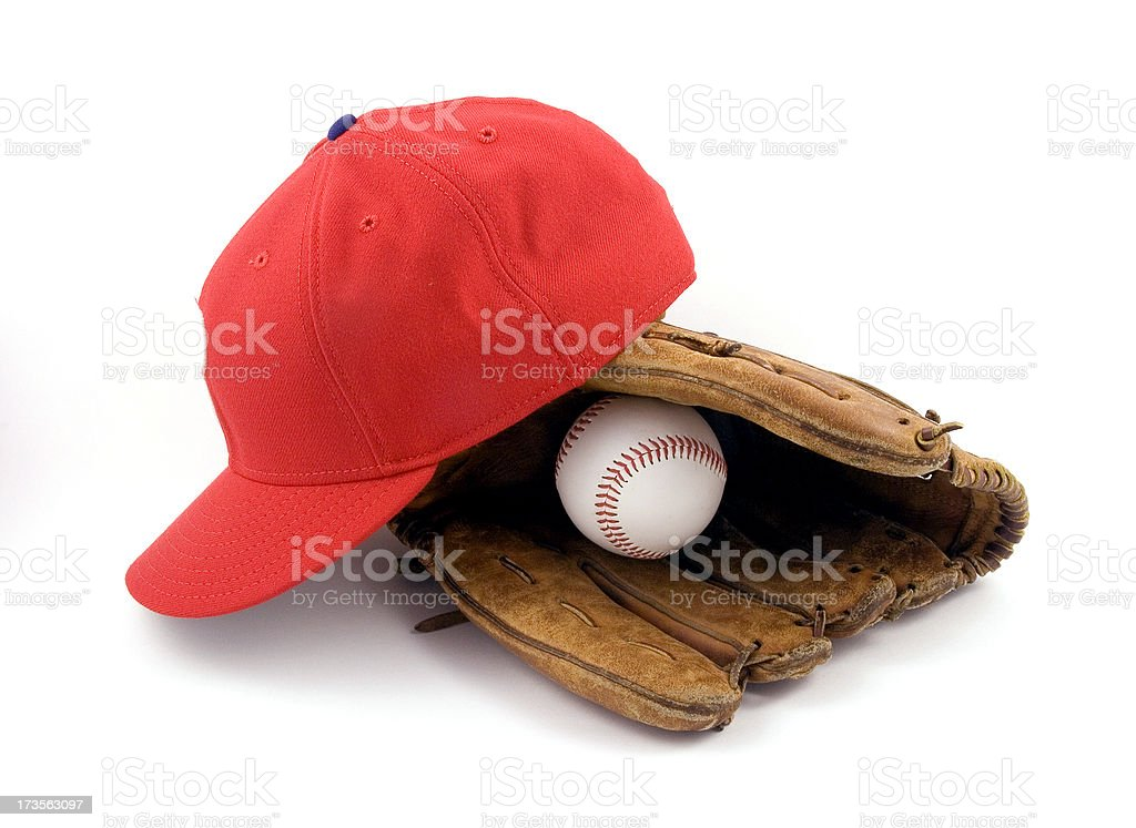 Baseball Glove with Ball and Red Hat stock photo