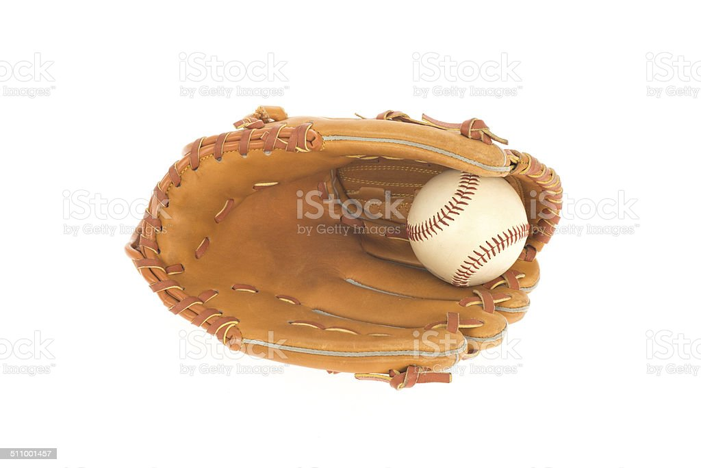 baseball glove with ball isolated on white stock photo