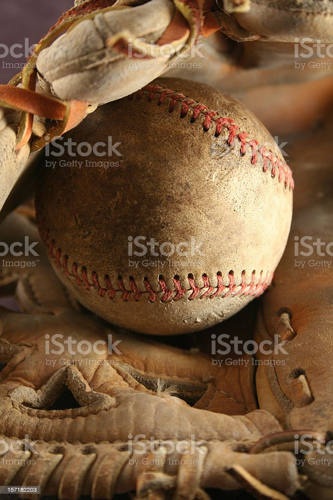 Baseball Glove with Ball` royalty-free stock photo