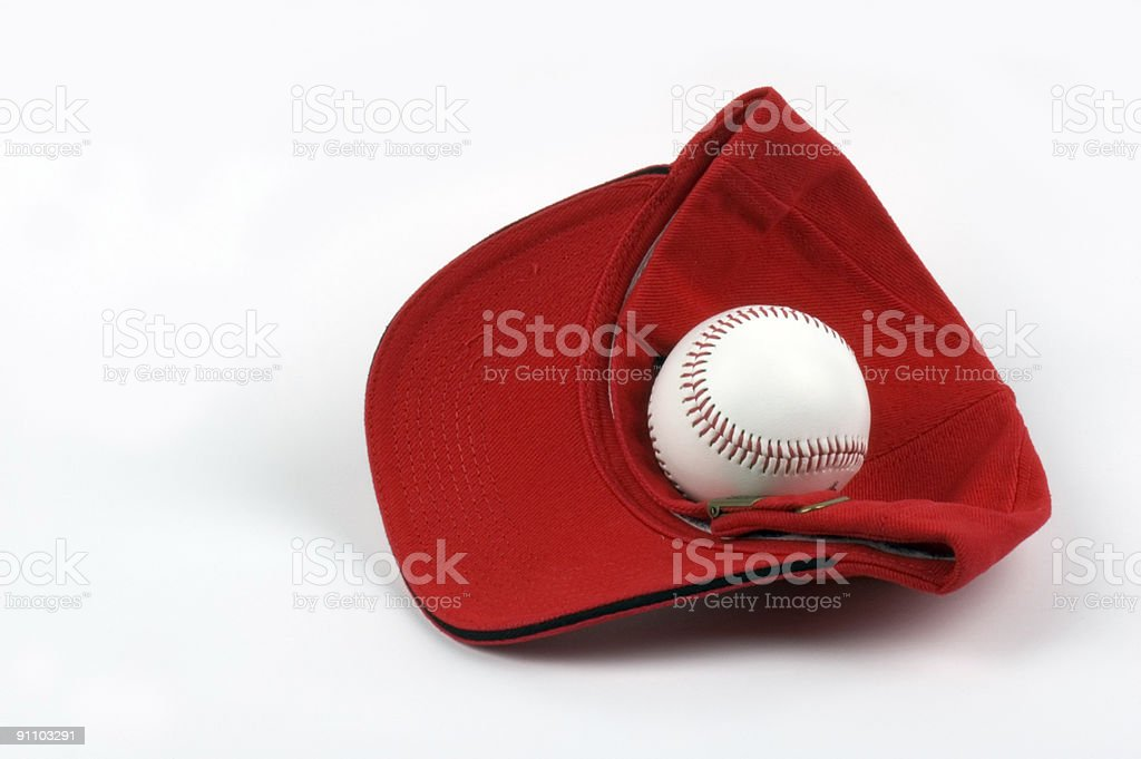 Baseball hat with ball stock photo