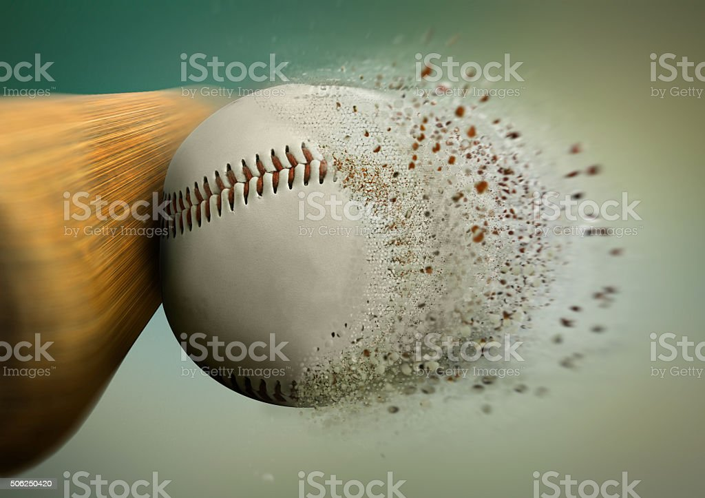 baseball hit with the ball disintegrating royalty-free stock photo