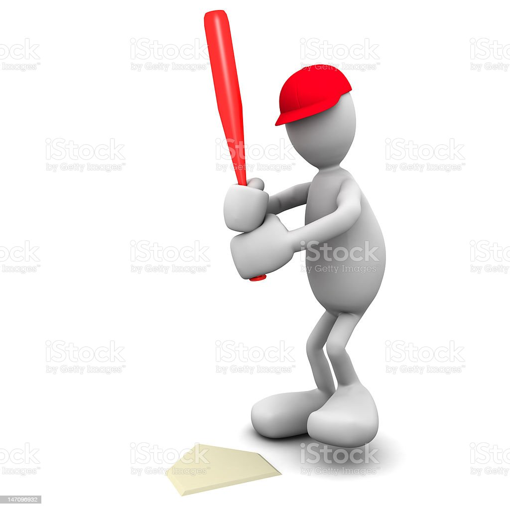 3D Baseball Hitter royalty-free stock photo