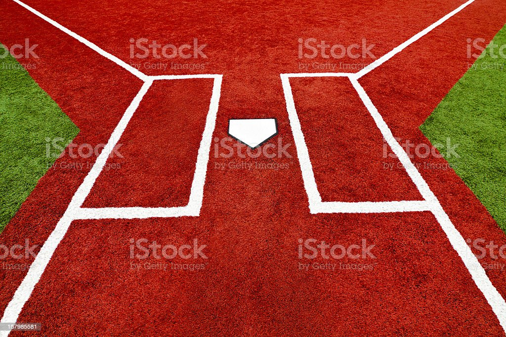 Baseball Home Plate Batter Boxes royalty-free stock photo