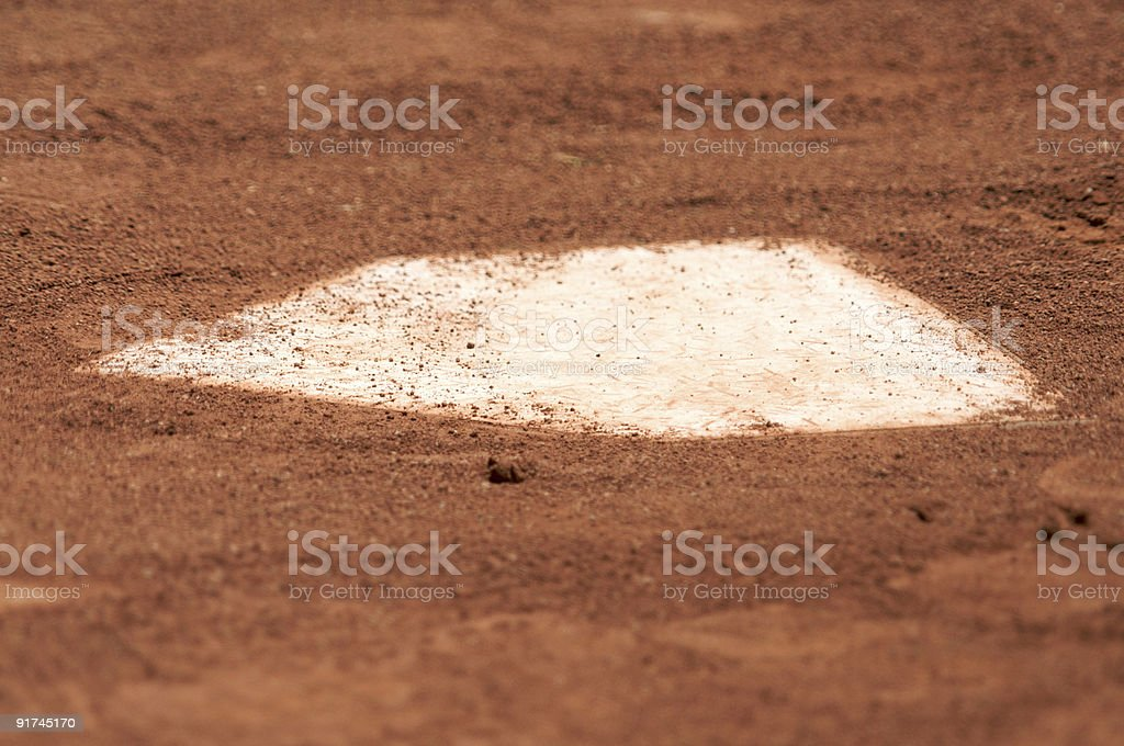 Baseball home plate surrounded by dirt. royalty-free stock photo