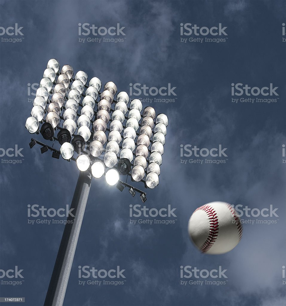 Baseball home run under the stadium lights stock photo