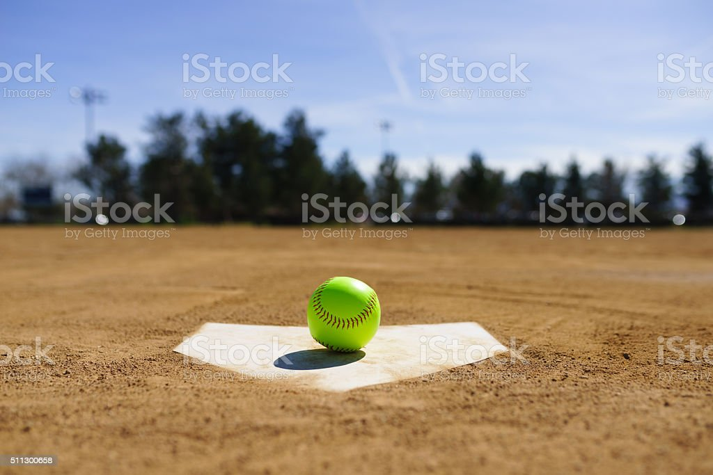 Baseball in a baseball field in California mountains stock photo