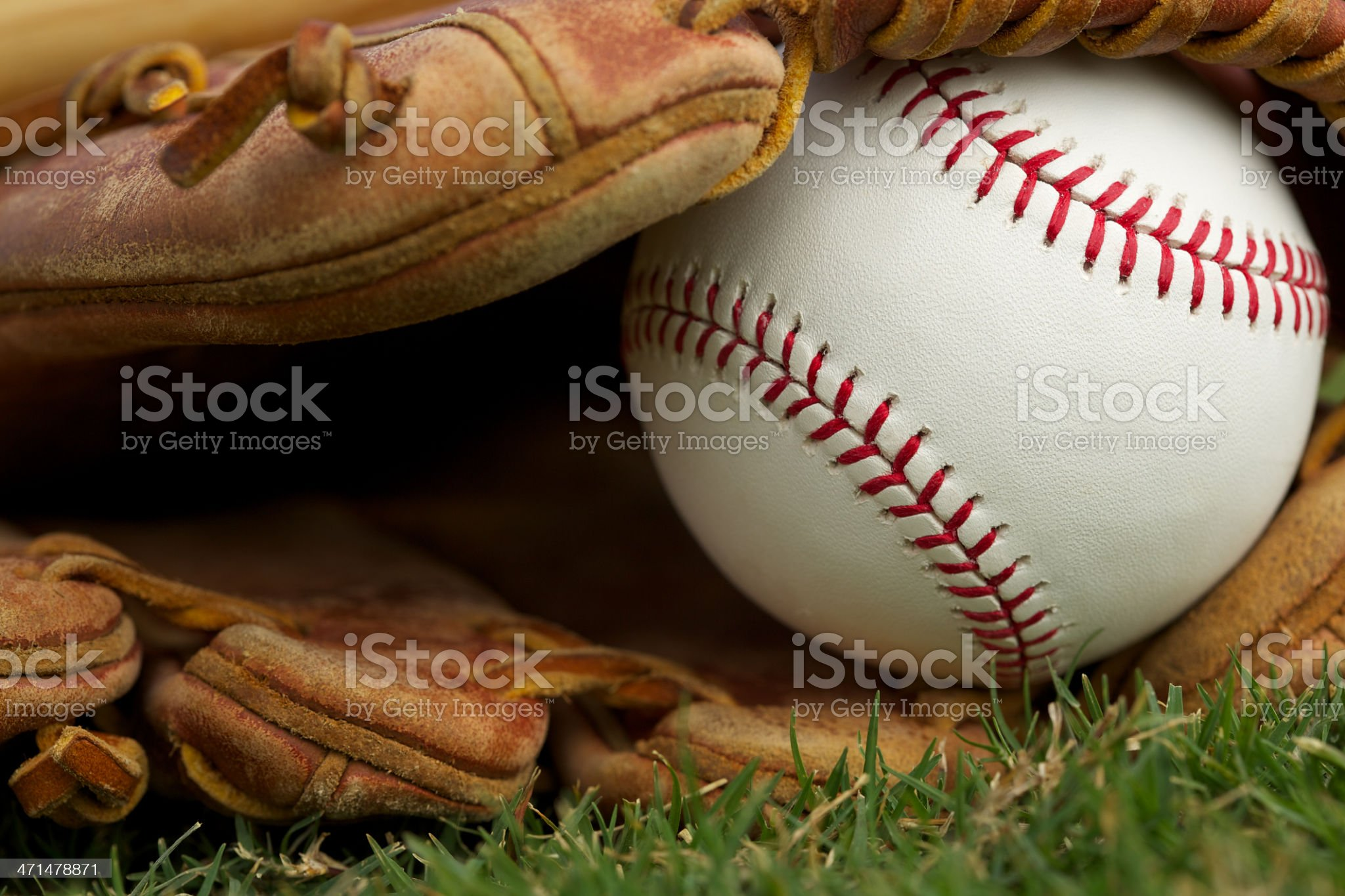 Baseball in a Glove Close Up royalty-free stock photo