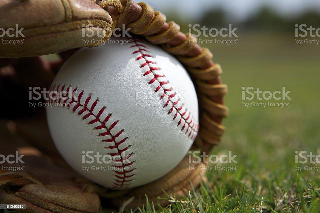 Baseball in a Glove stock photo