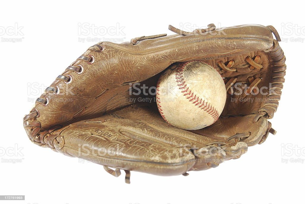 Baseball in glove royalty-free stock photo
