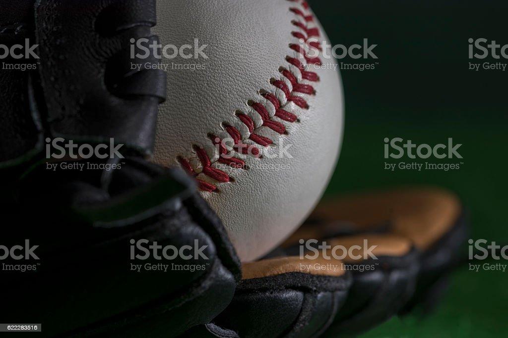 Baseball in glove stock photo