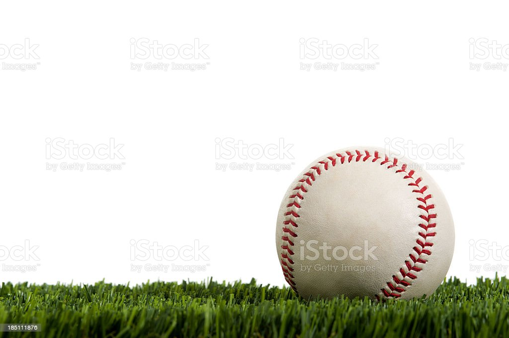 Baseball in Grass against a white background royalty-free stock photo