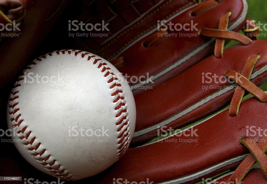 Baseball in mitt royalty-free stock photo