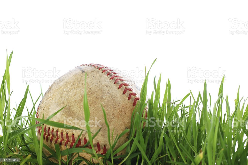 Baseball in the outfield royalty-free stock photo