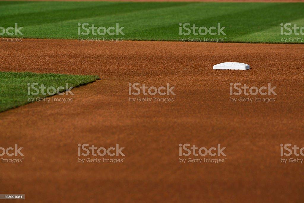 Baseball infield at Second base stock photo
