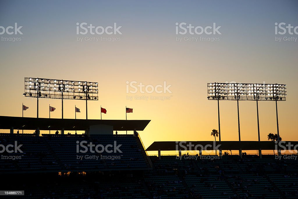 Baseball Lights at Sunset royalty-free stock photo