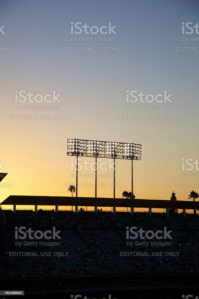 Baseball Lights at Sunset stock photo
