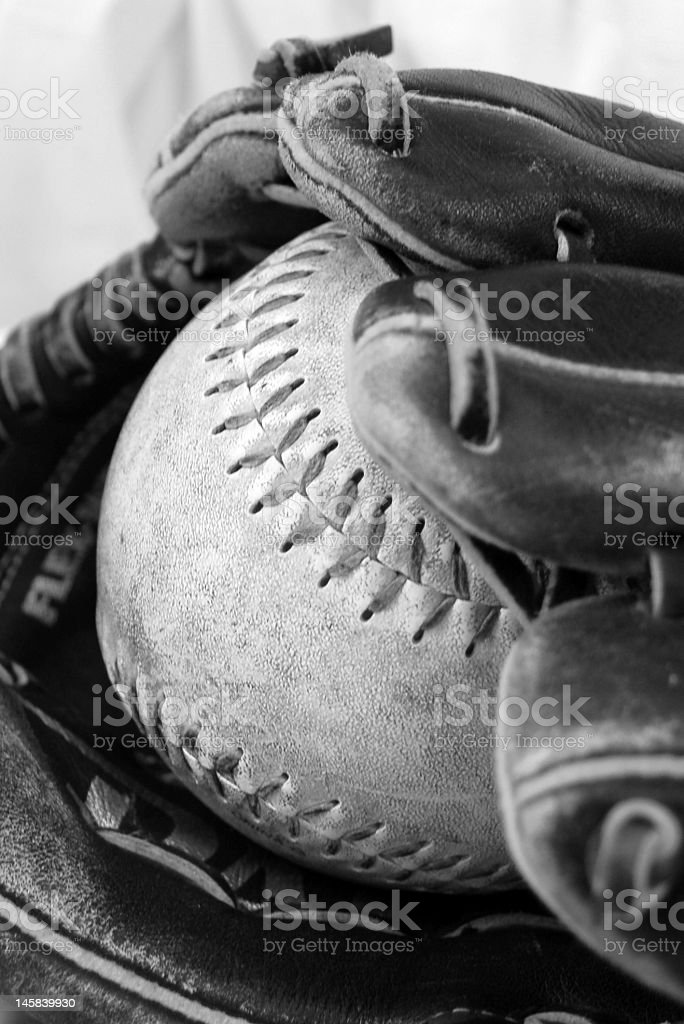 Baseball mit and ball stock photo