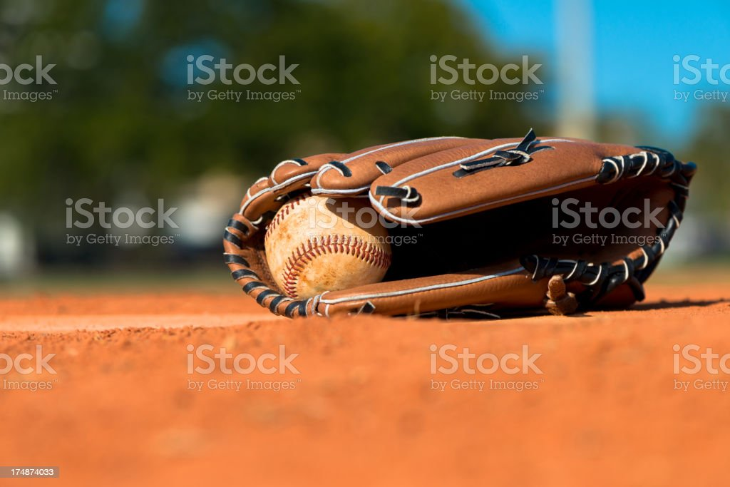Baseball Mitt Glove with Ball stock photo
