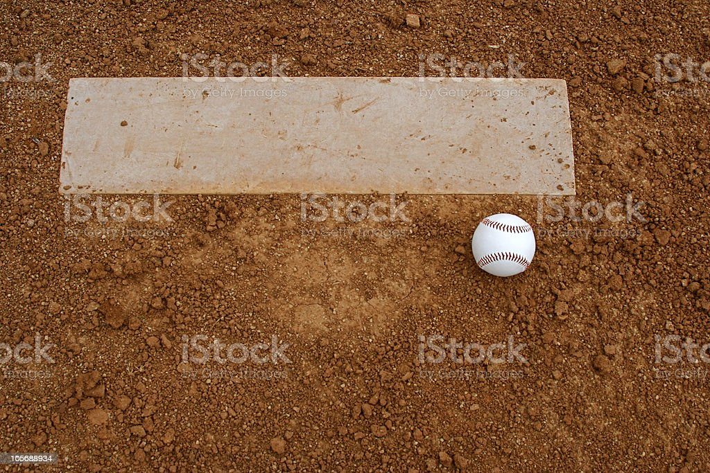 Baseball near the Pitchers Mound stock photo