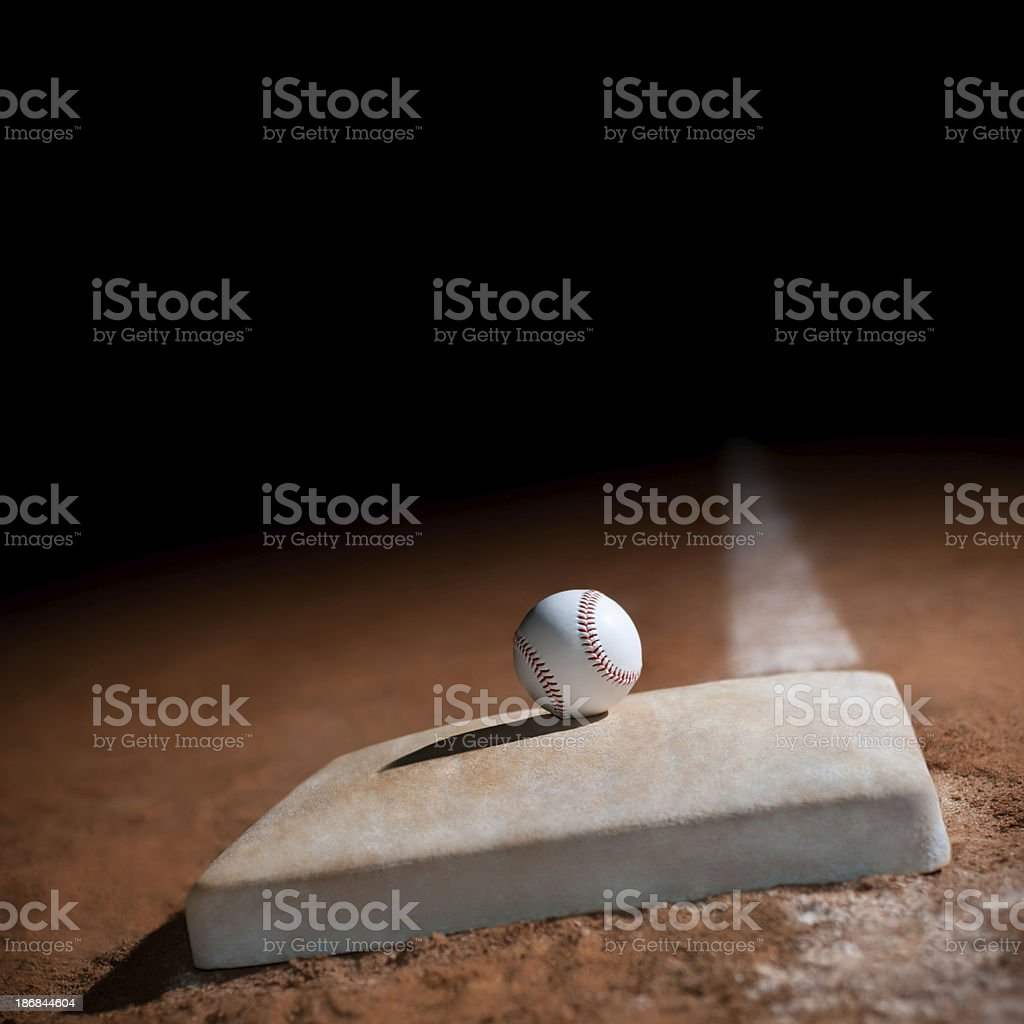 baseball on 1st base stock photo