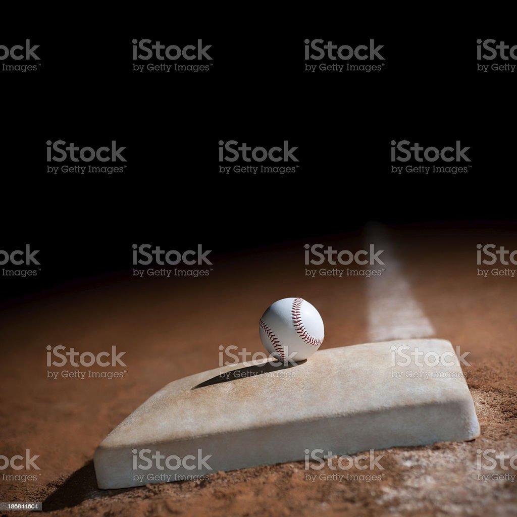 baseball on 1st base stock photo