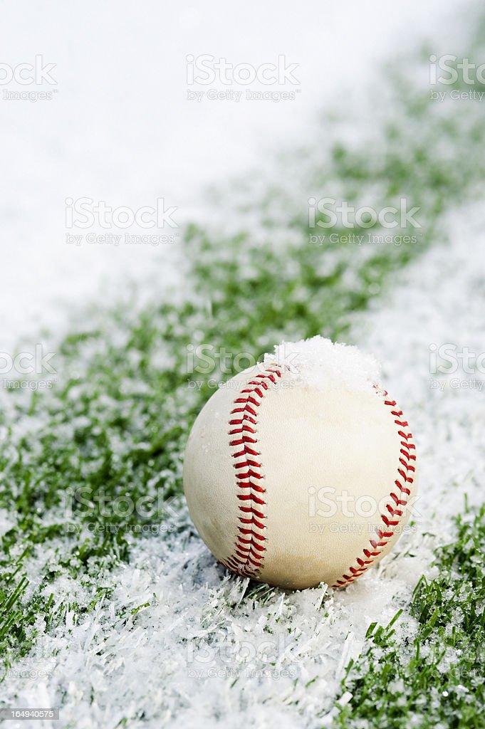Baseball on a snow field royalty-free stock photo
