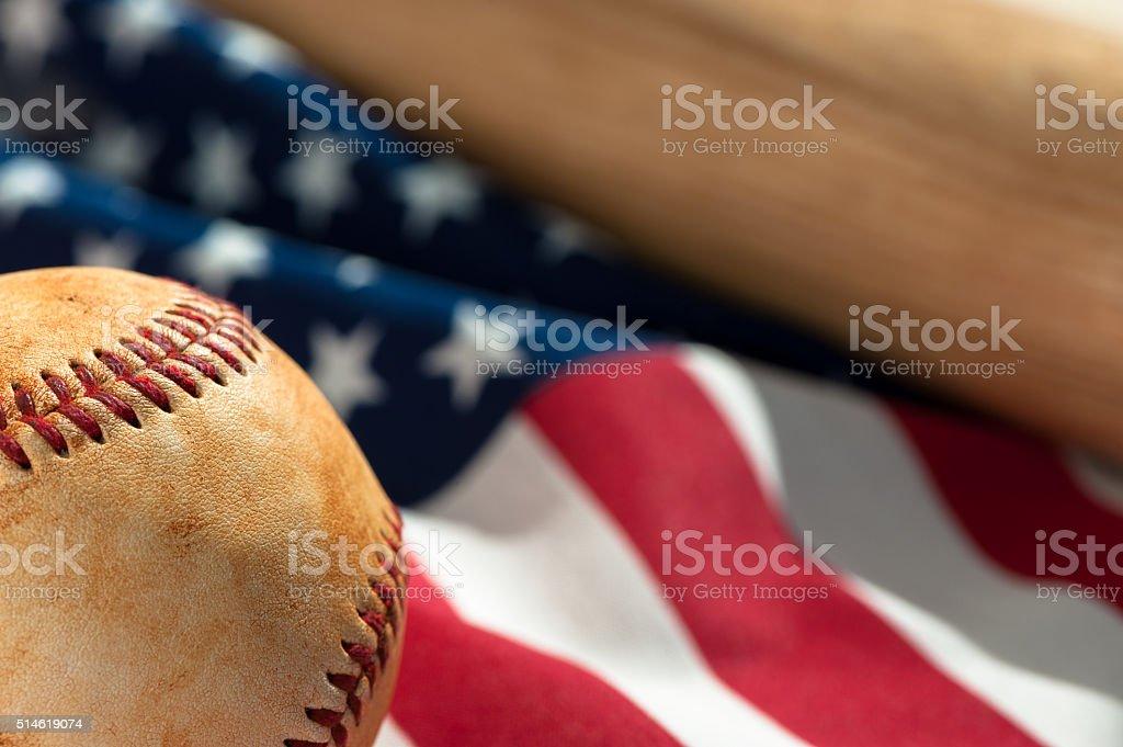Baseball on American Flag stock photo