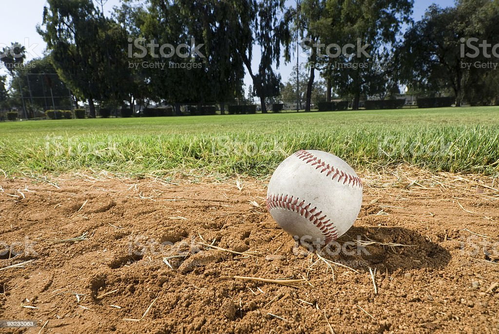 Baseball on field. royalty-free stock photo